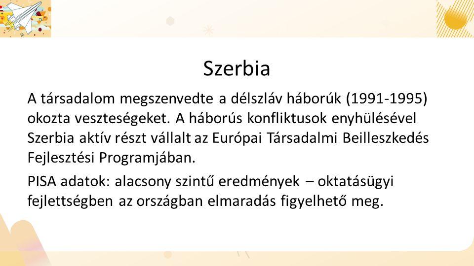 Szerbia A társadalom megszenvedte a délszláv háborúk (1991-1995) okozta veszteségeket.