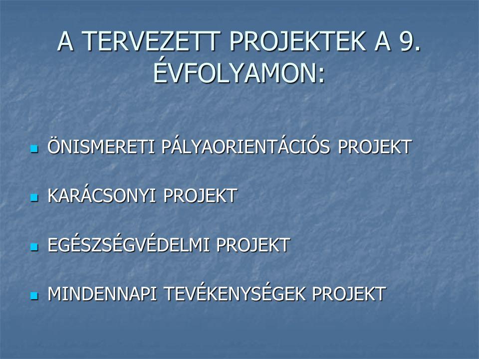 A TERVEZETT PROJEKTEK A 9. ÉVFOLYAMON: ÖNISMERETI PÁLYAORIENTÁCIÓS PROJEKT ÖNISMERETI PÁLYAORIENTÁCIÓS PROJEKT KARÁCSONYI PROJEKT KARÁCSONYI PROJEKT E