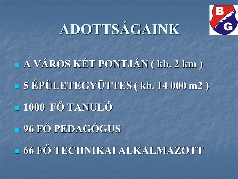 ADOTTSÁGAINK A VÁROS KÉT PONTJÁN ( kb. 2 km ) A VÁROS KÉT PONTJÁN ( kb. 2 km ) 5 ÉPÜLETEGYÜTTES ( kb. 14 000 m2 ) 5 ÉPÜLETEGYÜTTES ( kb. 14 000 m2 ) 1
