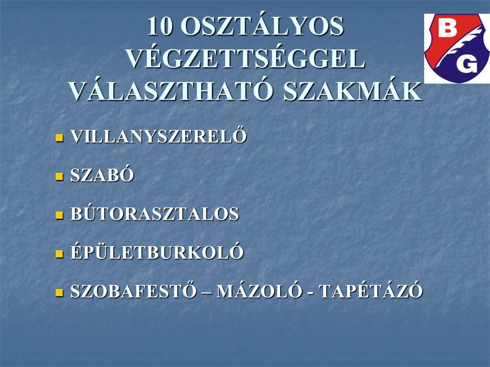 10 OSZTÁLYOS VÉGZETTSÉGGEL VÁLASZTHATÓ SZAKMÁK VILLANYSZERELŐ VILLANYSZERELŐ SZABÓ SZABÓ BÚTORASZTALOS BÚTORASZTALOS ÉPÜLETBURKOLÓ ÉPÜLETBURKOLÓ SZOBA