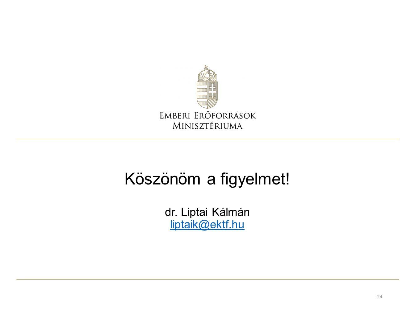 Köszönöm a figyelmet! dr. Liptai Kálmán liptaik@ektf.hu liptaik@ektf.hu 24