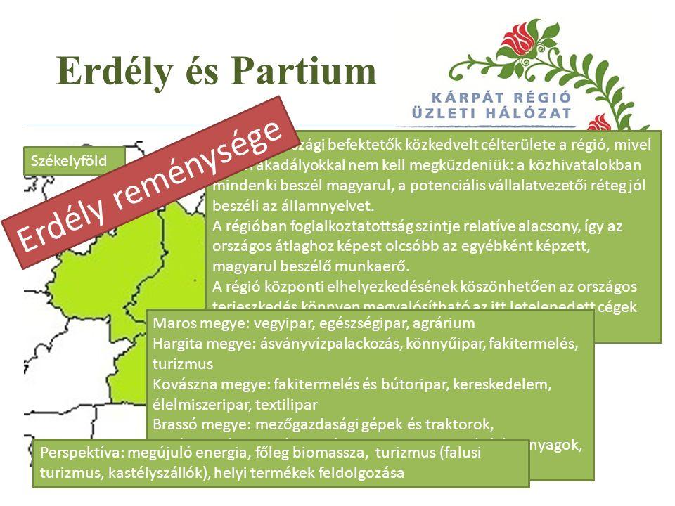 Erdély és Partium A magyarországi befektetők közkedvelt célterülete a régió, mivel nyelvi akadályokkal nem kell megküzdeniük: a közhivatalokban mindenki beszél magyarul, a potenciális vállalatvezetői réteg jól beszéli az államnyelvet.
