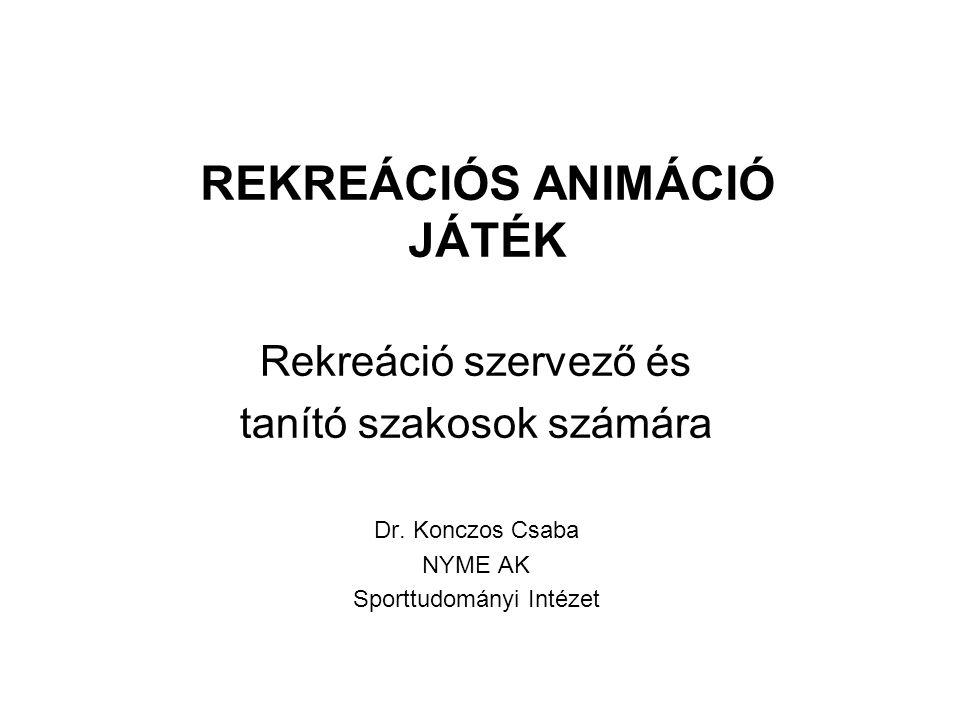 REKREÁCIÓS ANIMÁCIÓ JÁTÉK Rekreáció szervező és tanító szakosok számára Dr.