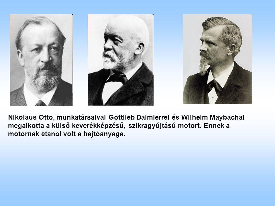 Nikolaus Otto, munkatársaival Gottlieb Daimlerrel és Wilhelm Maybachal megalkotta a külső keverékképzésű, szikragyújtású motort.