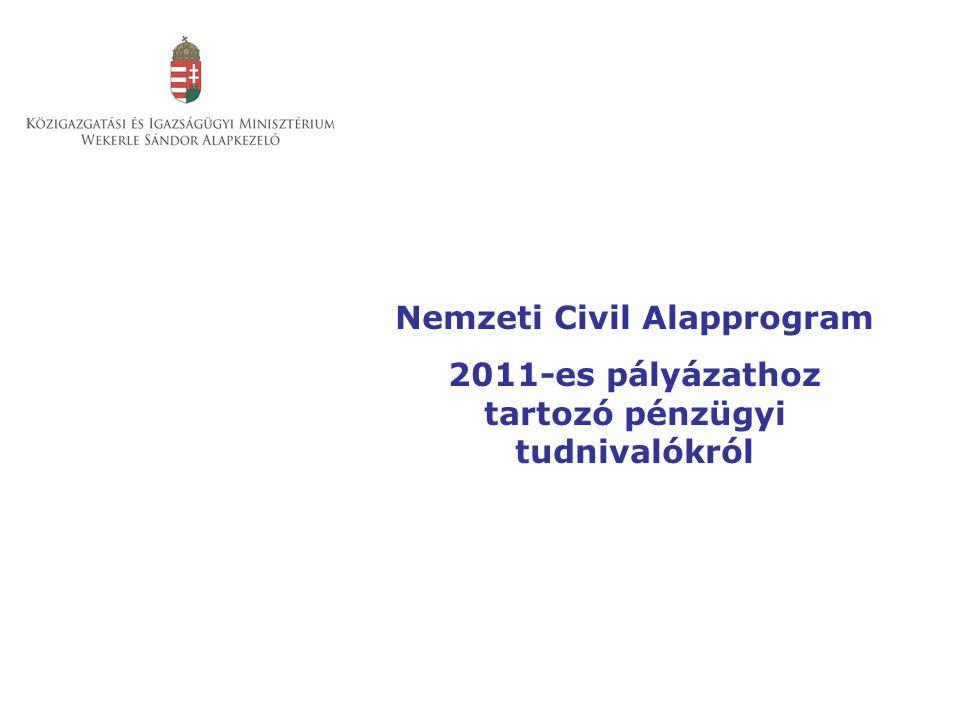Nemzeti Civil Alapprogram 2011-es pályázathoz tartozó pénzügyi tudnivalókról