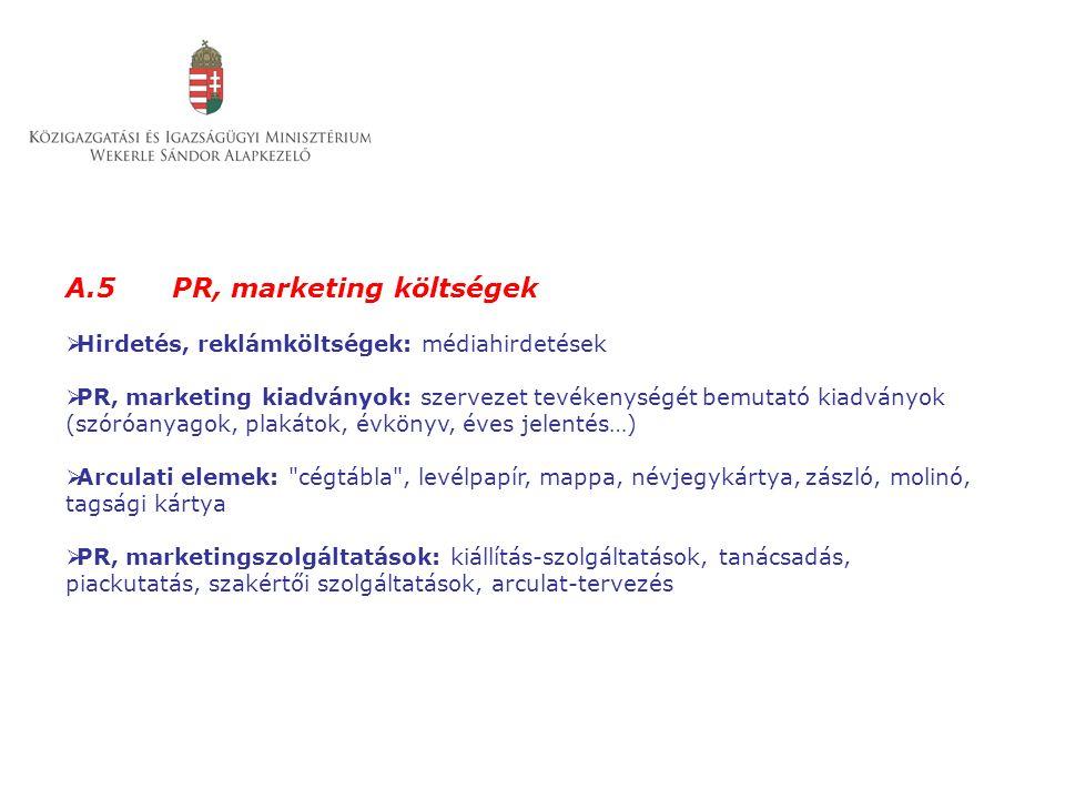 A.5 PR, marketing költségek  Hirdetés, reklámköltségek: médiahirdetések  PR, marketing kiadványok: szervezet tevékenységét bemutató kiadványok (szór