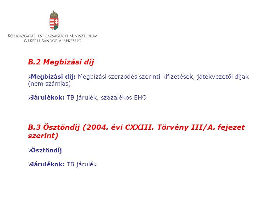 B.2 Megbízási díj  Megbízási díj: Megbízási szerződés szerinti kifizetések, játékvezetői díjak (nem számlás)  Járulékok: TB járulék, százalékos EHO