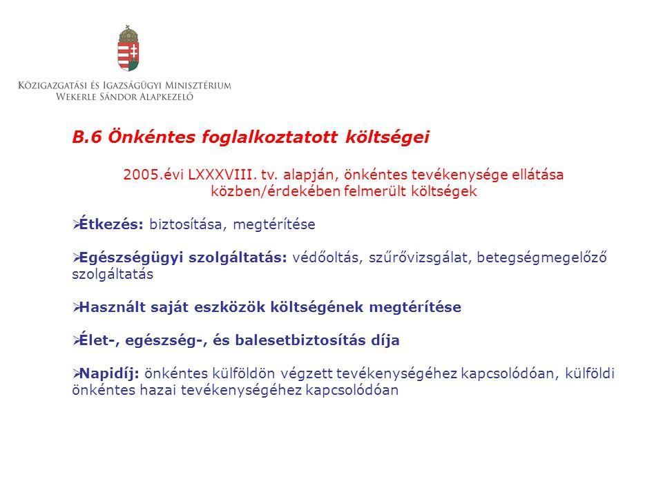 B.6 Önkéntes foglalkoztatott költségei 2005.évi LXXXVIII. tv. alapján, önkéntes tevékenysége ellátása közben/érdekében felmerült költségek  Étkezés: