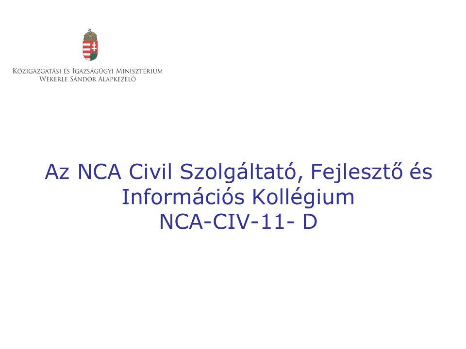 Az NCA Civil Szolgáltató, Fejlesztő és Információs Kollégium NCA-CIV-11- D