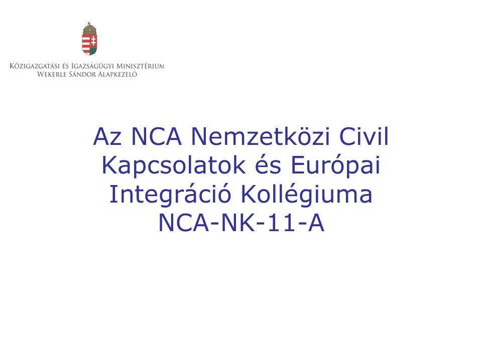 Az NCA Nemzetközi Civil Kapcsolatok és Európai Integráció Kollégiuma NCA-NK-11-A
