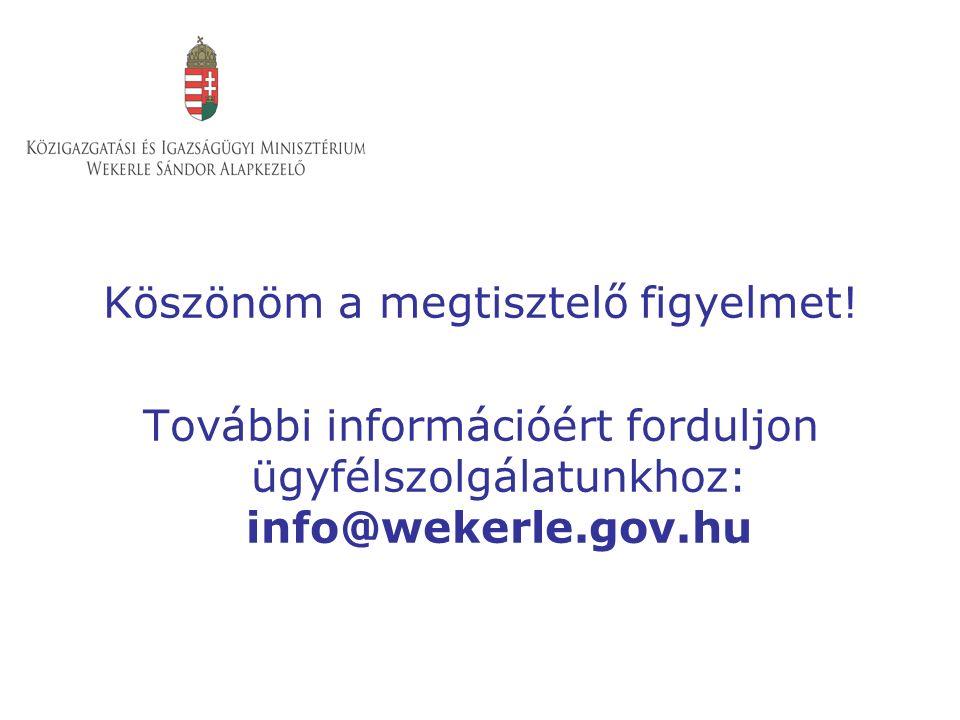 Köszönöm a megtisztelő figyelmet! További információért forduljon ügyfélszolgálatunkhoz: info@wekerle.gov.hu