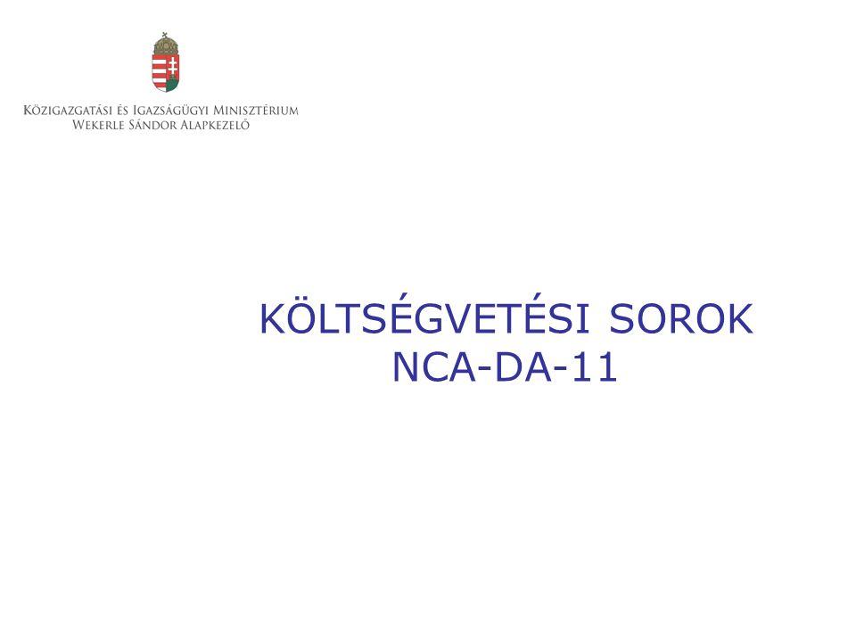 KÖLTSÉGVETÉSI SOROK NCA-DA-11
