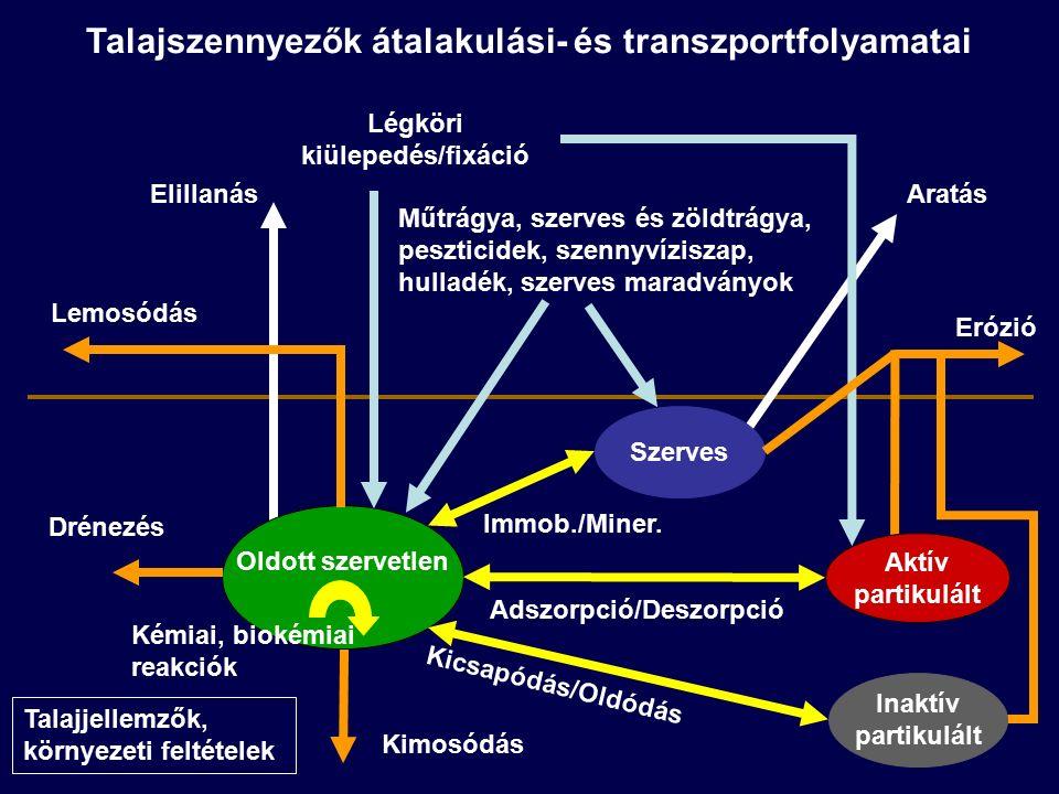 Talajszennyezők átalakulási- és transzportfolyamatai Oldott szervetlen Szerves Erózió Kicsapódás/Oldódás Lemosódás Elillanás Adszorpció/Deszorpció Aratás Műtrágya, szerves és zöldtrágya, peszticidek, szennyvíziszap, hulladék, szerves maradványok Kimosódás Légköri kiülepedés/fixáció Immob./Miner.
