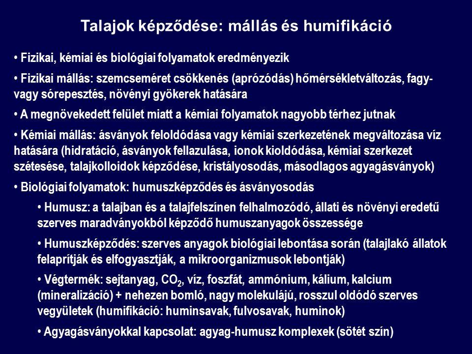 Talajok képződése: mállás és humifikáció Fizikai, kémiai és biológiai folyamatok eredményezik Fizikai mállás: szemcseméret csökkenés (aprózódás) hőmér