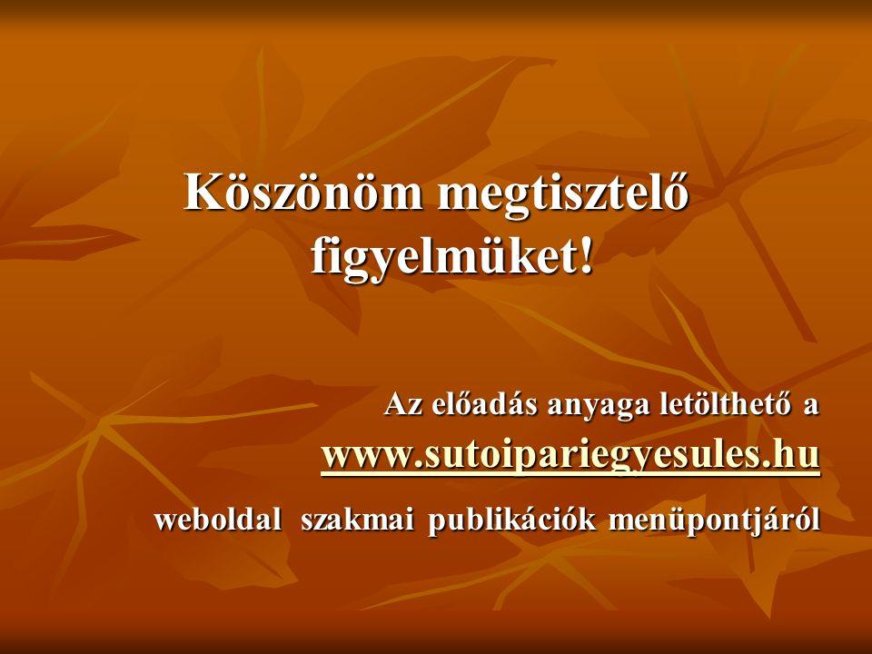 Köszönöm megtisztelő figyelmüket! Az előadás anyaga letölthető a www.sutoipariegyesules.hu www.sutoipariegyesules.hu weboldal szakmai publikációk menü