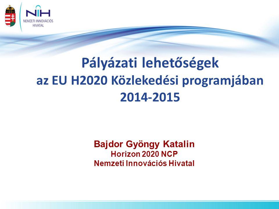 Pályázati lehetőségek az EU H2020 Közlekedési programjában 2014-2015 Bajdor Gyöngy Katalin Horizon 2020 NCP Nemzeti Innovációs Hivatal
