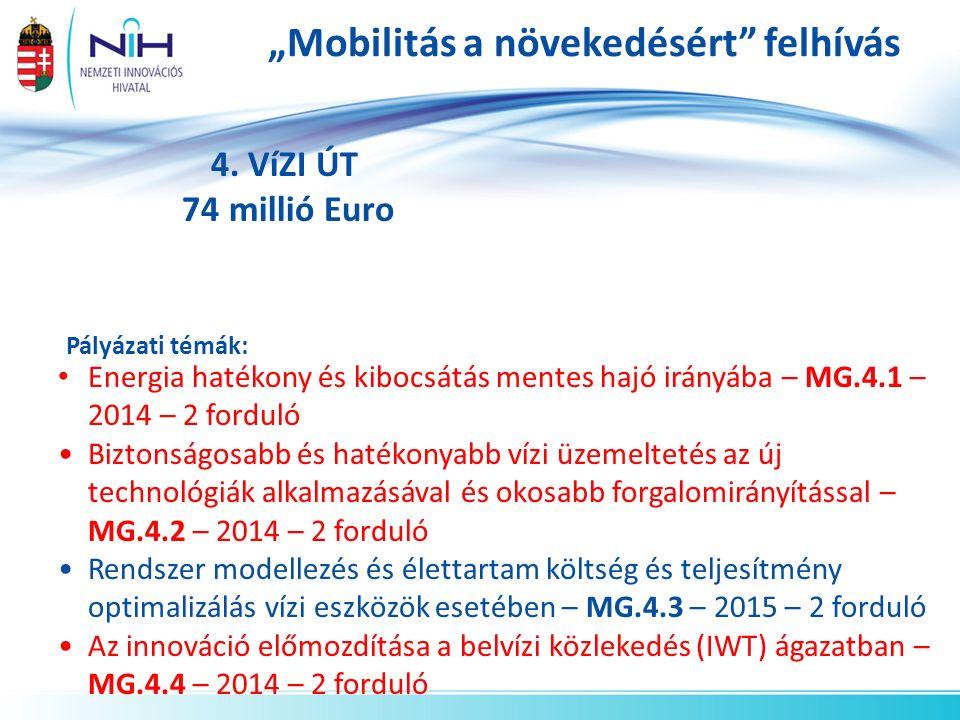 """""""Mobilitás a növekedésért"""" felhívás 4. VíZI ÚT 74 millió Euro Pályázati témák: Energia hatékony és kibocsátás mentes hajó irányába – MG.4.1 – 2014 – 2"""