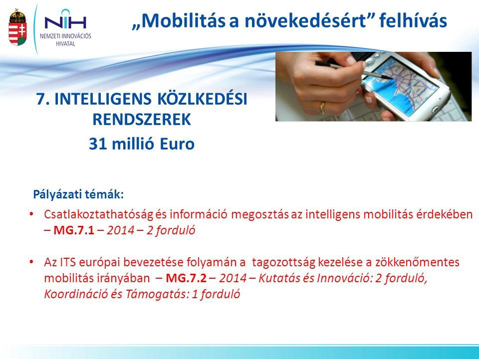 """""""Mobilitás a növekedésért"""" felhívás 7. INTELLIGENS KÖZLKEDÉSI RENDSZEREK 31 millió Euro Pályázati témák: Csatlakoztathatóság és információ megosztás a"""