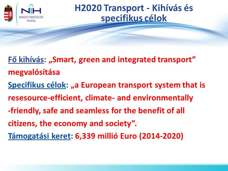 """H2020 Transport program fő célkitűzései a)Erőforrás-hatékony közlekedés, amely tekintettel van a környezetre b)Jobb mobilitás, kevesebb torlódás, nagyobb biztonság és megbízhatóság c)Az európai közlekedés ipar globális vezető szerepe d)A szakpolitika támogatása """"socio- economic és viselkedés kutatásokkal"""