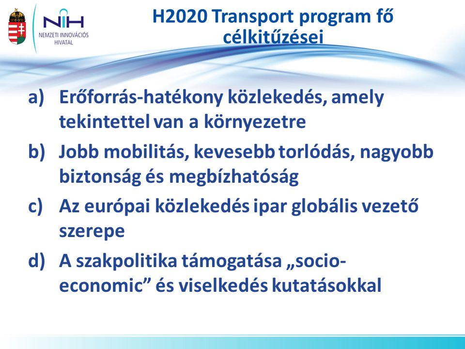 H2020 Transport program fő célkitűzései a)Erőforrás-hatékony közlekedés, amely tekintettel van a környezetre b)Jobb mobilitás, kevesebb torlódás, nagy