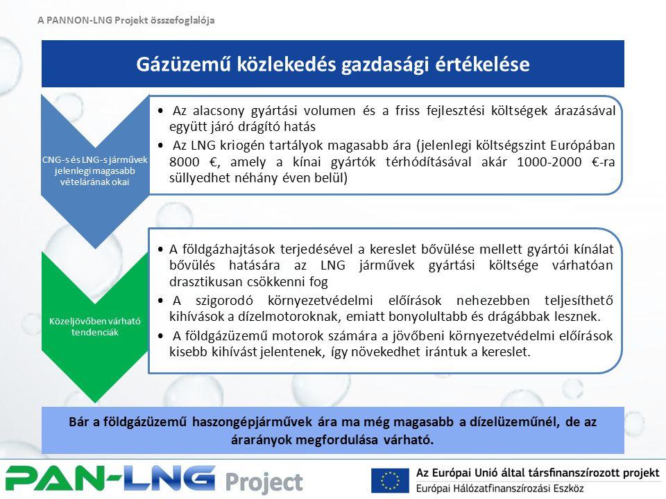 A PANNON-LNG Projekt összefoglalója Gázüzemű közlekedés gazdasági értékelése Bár a földgázüzemű haszongépjárművek ára ma még magasabb a dízelüzeműnél, de az árarányok megfordulása várható.