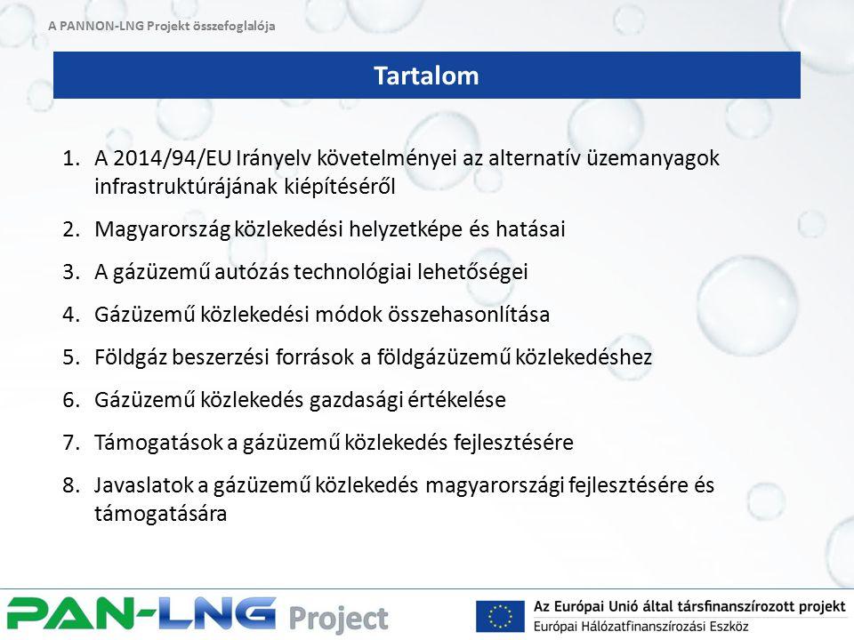 Tartalom 1.A 2014/94/EU Irányelv követelményei az alternatív üzemanyagok infrastruktúrájának kiépítéséről 2.Magyarország közlekedési helyzetképe és hatásai 3.A gázüzemű autózás technológiai lehetőségei 4.Gázüzemű közlekedési módok összehasonlítása 5.Földgáz beszerzési források a földgázüzemű közlekedéshez 6.Gázüzemű közlekedés gazdasági értékelése 7.Támogatások a gázüzemű közlekedés fejlesztésére 8.Javaslatok a gázüzemű közlekedés magyarországi fejlesztésére és támogatására