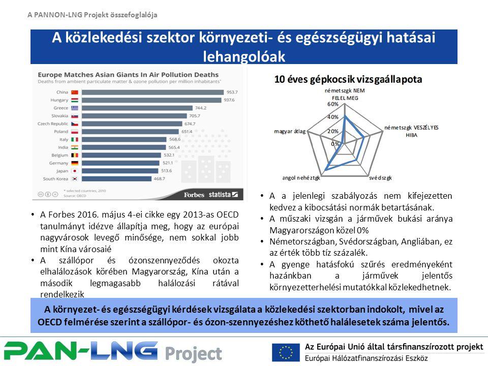 A PANNON-LNG Projekt összefoglalója A közlekedési szektor környezeti- és egészségügyi hatásai lehangolóak A környezet- és egészségügyi kérdések vizsgálata a közlekedési szektorban indokolt, mivel az OECD felmérése szerint a szállópor- és ózon-szennyezéshez köthető halálesetek száma jelentős.