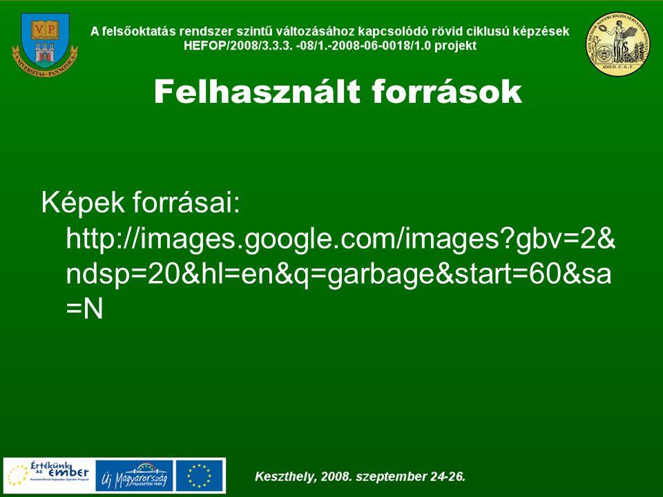Felhasznált források Képek forrásai: http://images.google.com/images?gbv=2& ndsp=20&hl=en&q=garbage&start=60&sa =N