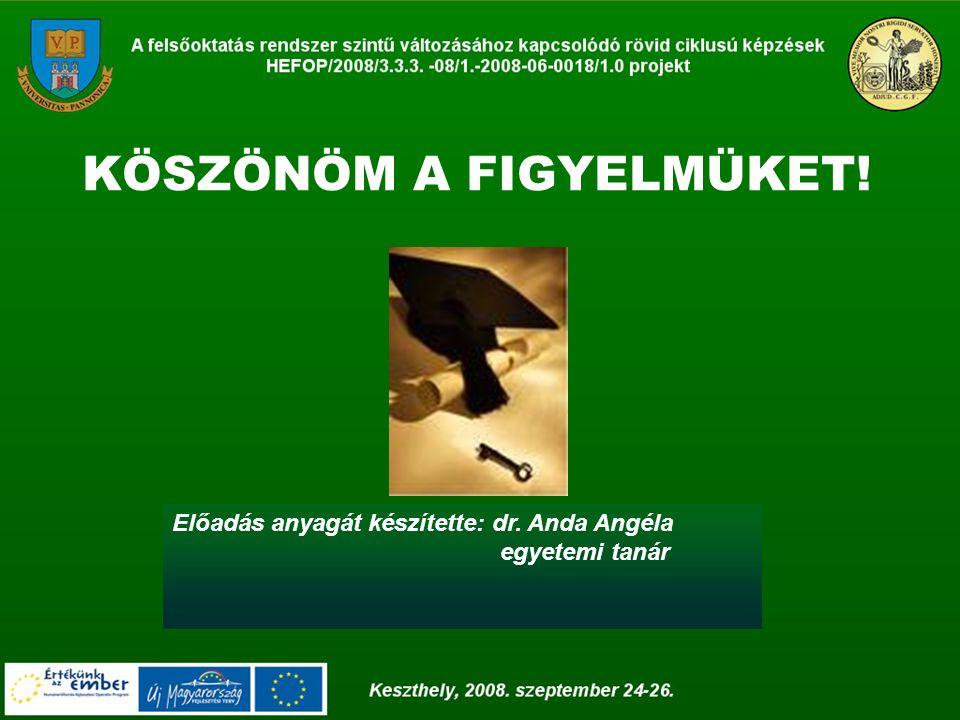 Előadás anyagát készítette: dr. Anda Angéla egyetemi tanár KÖSZÖNÖM A FIGYELMÜKET!