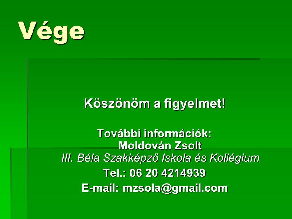 Vége Köszönöm a figyelmet. További információk: Moldován Zsolt III.