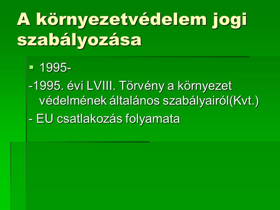 A környezetvédelem jogi szabályozása  1995- -1995.