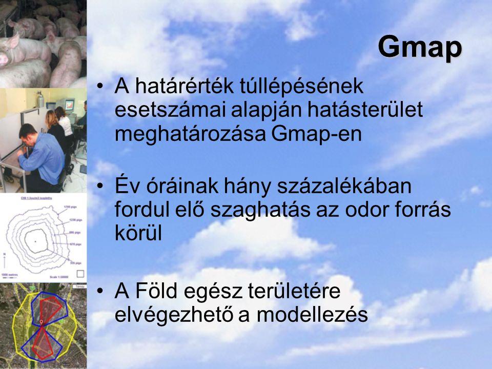 Gmap A határérték túllépésének esetszámai alapján hatásterület meghatározása Gmap-en Év óráinak hány százalékában fordul elő szaghatás az odor forrás körül A Föld egész területére elvégezhető a modellezés