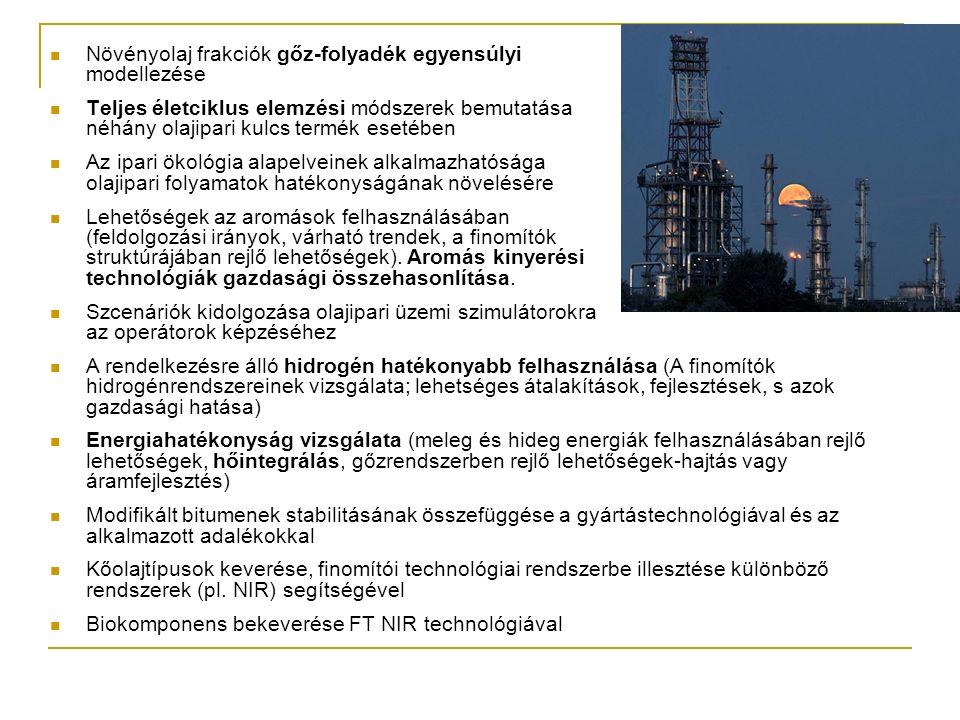 Növényolaj frakciók gőz-folyadék egyensúlyi modellezése Teljes életciklus elemzési módszerek bemutatása néhány olajipari kulcs termék esetében Az ipari ökológia alapelveinek alkalmazhatósága olajipari folyamatok hatékonyságának növelésére Lehetőségek az aromások felhasználásában (feldolgozási irányok, várható trendek, a finomítók struktúrájában rejlő lehetőségek).