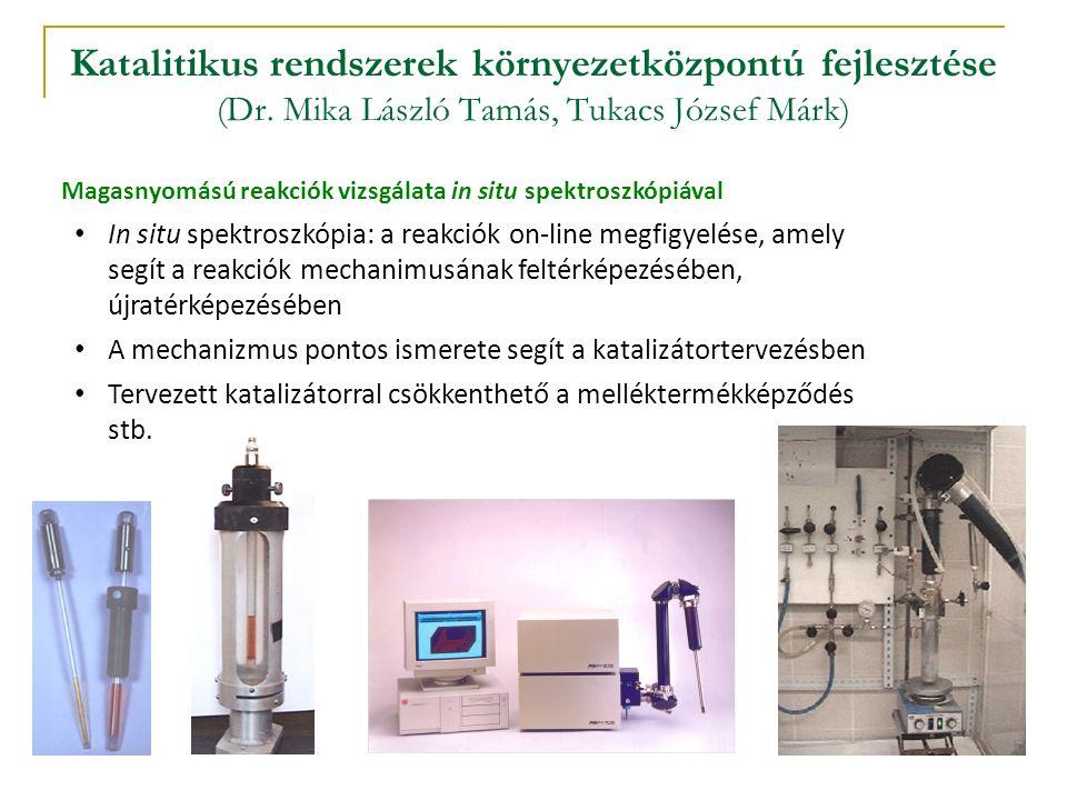 Katalitikus rendszerek környezetközpontú fejlesztése (Dr. Mika László Tamás, Tukacs József Márk) Magasnyomású reakciók vizsgálata in situ spektroszkóp