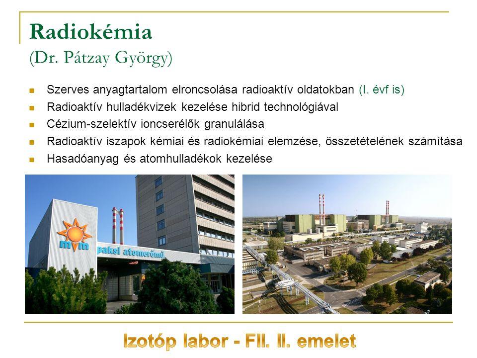 Radiokémia (Dr. Pátzay György) Szerves anyagtartalom elroncsolása radioaktív oldatokban (I.