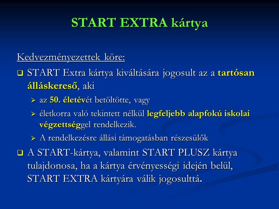 START EXTRA kártya Kedvezményezettek köre:  START Extra kártya kiváltására jogosult az a tartósan álláskereső, aki  az 50. életévét betöltötte, vagy
