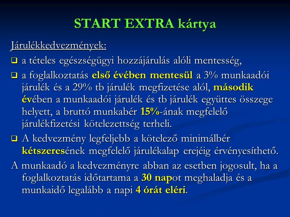 START EXTRA kártya Járulékkedvezmények:  a tételes egészségügyi hozzájárulás alóli mentesség,  a foglalkoztatás első évében mentesül a 3% munkaadói