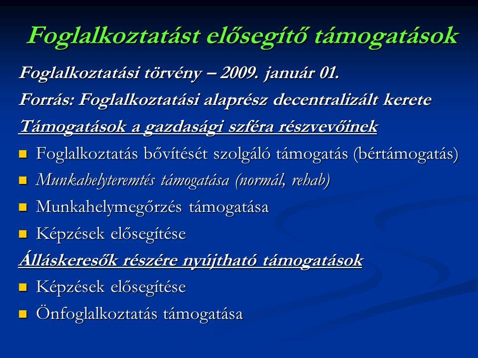 Foglalkoztatást elősegítő támogatások Foglalkoztatási törvény – 2009.