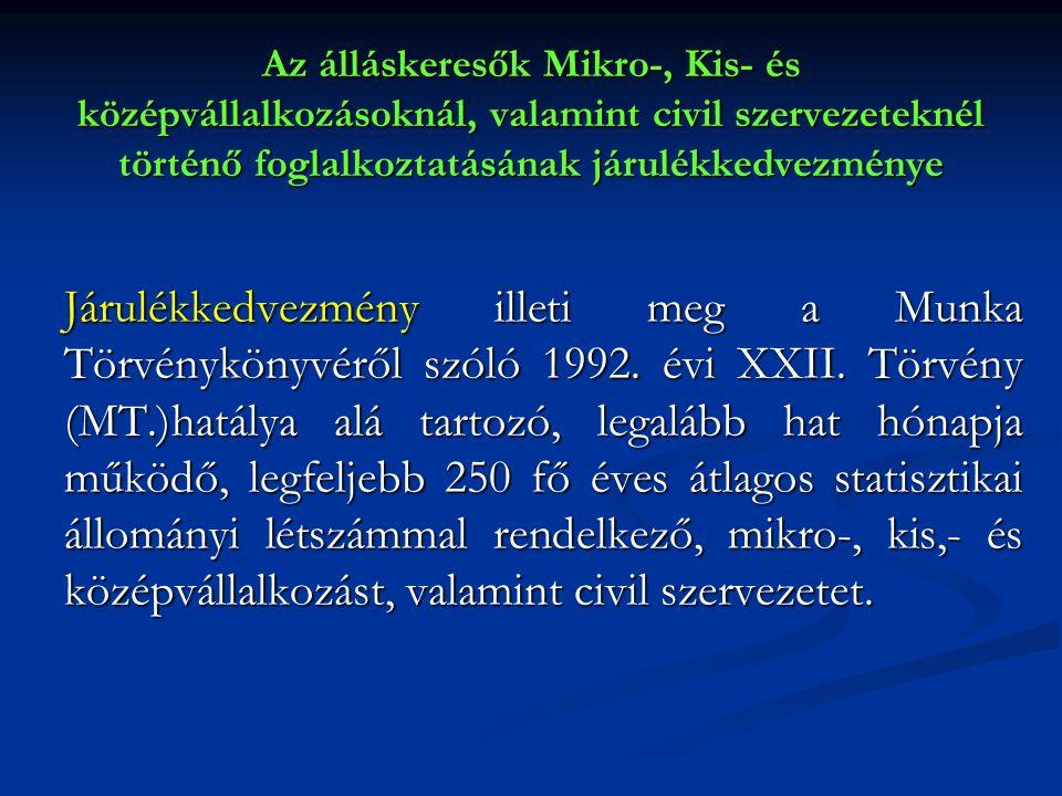 Az álláskeresők Mikro-, Kis- és középvállalkozásoknál, valamint civil szervezeteknél történő foglalkoztatásának járulékkedvezménye Járulékkedvezmény illeti meg a Munka Törvénykönyvéről szóló 1992.