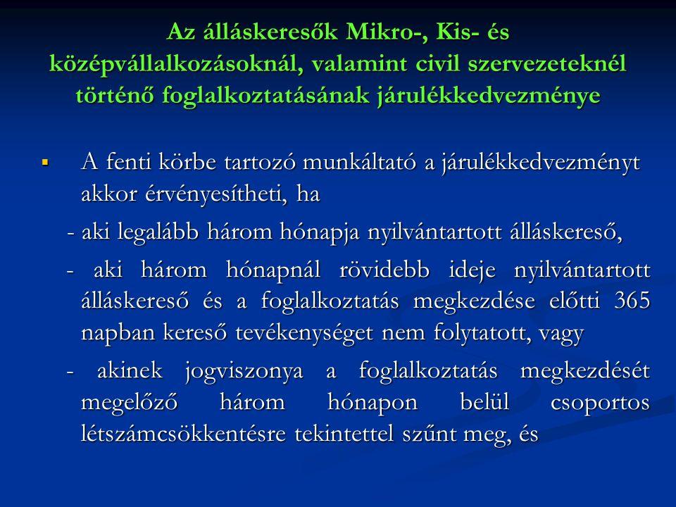 Az álláskeresők Mikro-, Kis- és középvállalkozásoknál, valamint civil szervezeteknél történő foglalkoztatásának járulékkedvezménye  A fenti körbe tar