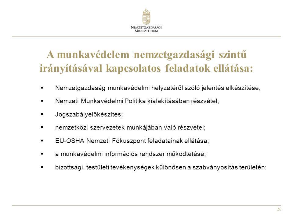 26 A munkavédelem nemzetgazdasági szintű irányításával kapcsolatos feladatok ellátása:  Nemzetgazdaság munkavédelmi helyzetéről szóló jelentés elkészítése,  Nemzeti Munkavédelmi Politika kialakításában részvétel;  Jogszabályelőkészítés;  nemzetközi szervezetek munkájában való részvétel;  EU-OSHA Nemzeti Fókuszpont feladatainak ellátása;  a munkavédelmi információs rendszer működtetése;  bizottsági, testületi tevékenységek különösen a szabványosítás területén;