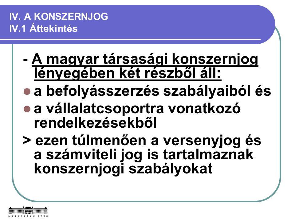 IV. A KONSZERNJOG IV.1 Áttekintés - A magyar társasági konszernjog lényegében két részből áll: a befolyásszerzés szabályaiból és a vállalatcsoportra v
