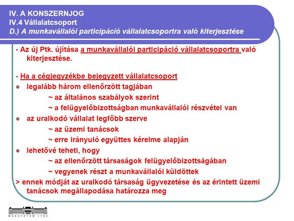 IV. A KONSZERNJOG IV.4 Vállalatcsoport D.) A munkavállalói participáció vállalatcsoportra való kiterjesztése - Az új Ptk. újítása a munkavállalói part