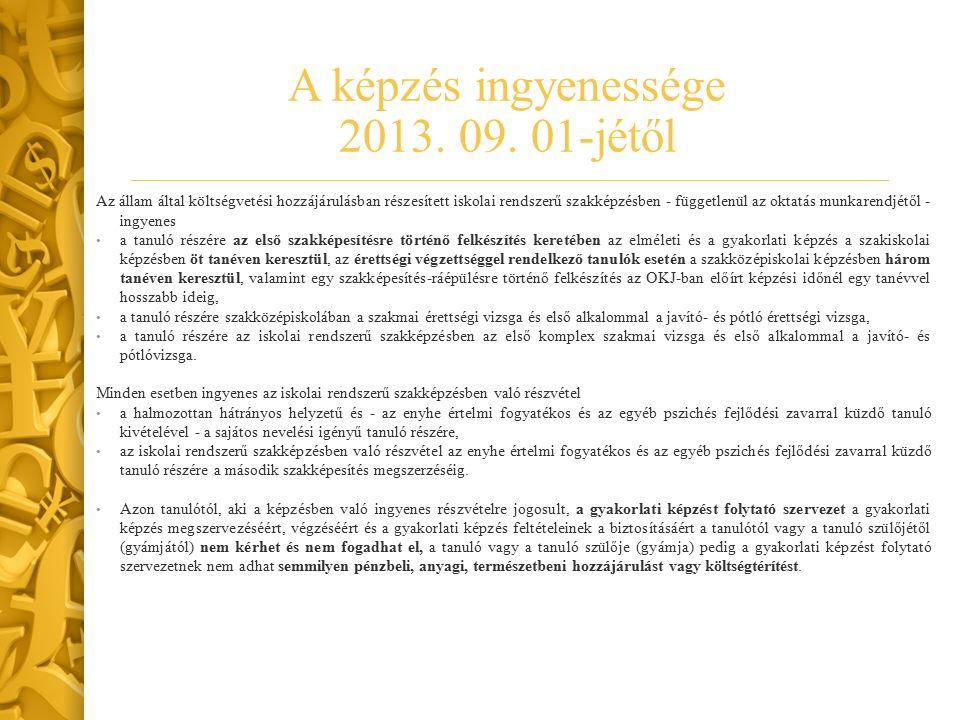 A képzés ingyenessége 2013. 09.