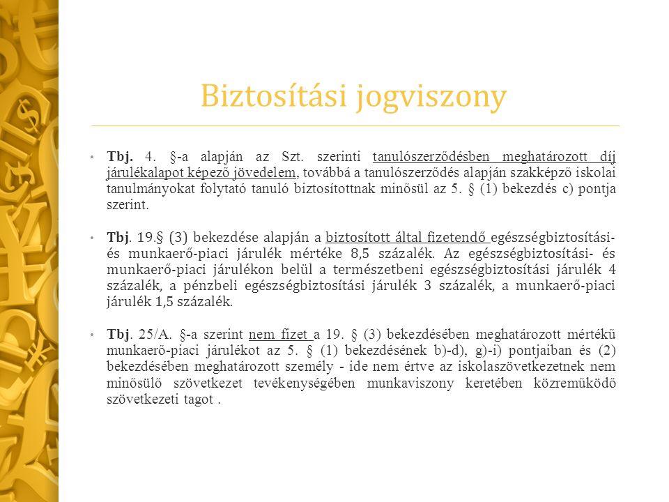 Biztosítási jogviszony Tbj. 4. §-a alapján az Szt.