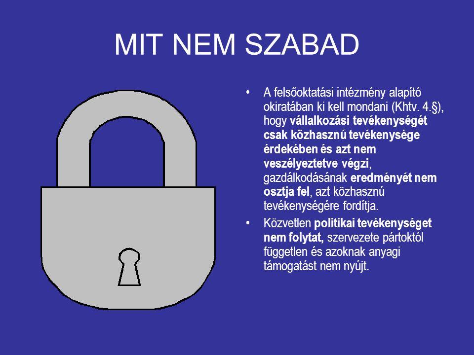 MIT NEM SZABAD A felsőoktatási intézmény alapító okiratában ki kell mondani (Khtv.