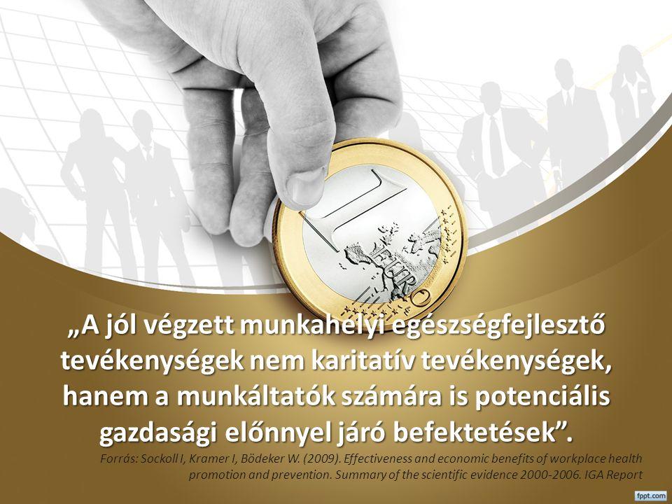"""""""A jól végzett munkahelyi egészségfejlesztő tevékenységek nem karitatív tevékenységek, hanem a munkáltatók számára is potenciális gazdasági előnnyel járó befektetések ."""