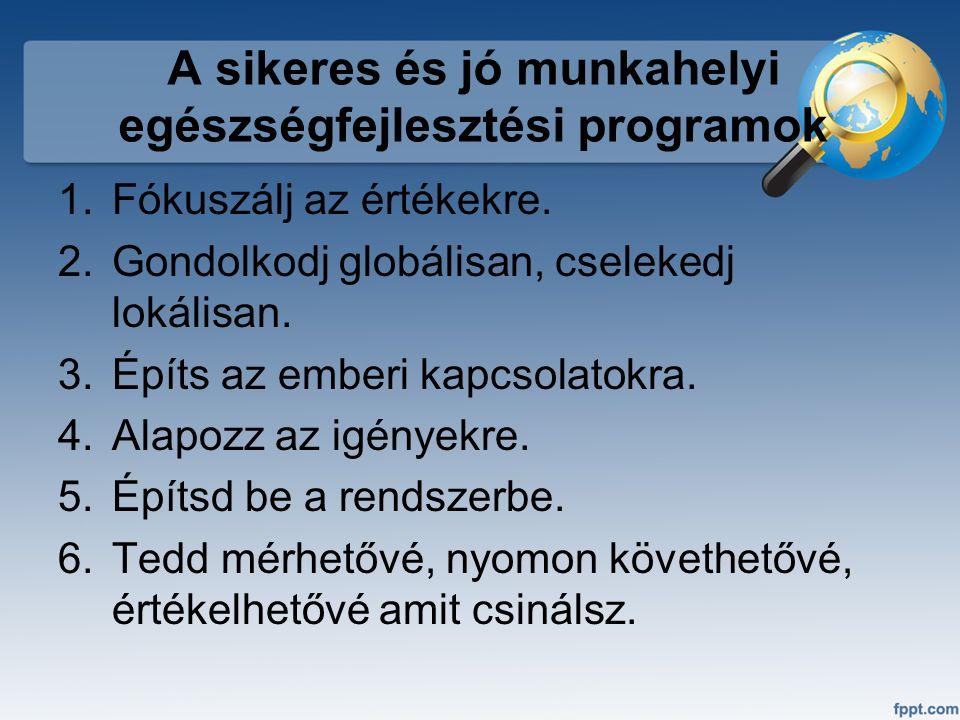 A sikeres és jó munkahelyi egészségfejlesztési programok 1.Fókuszálj az értékekre. 2.Gondolkodj globálisan, cselekedj lokálisan. 3.Építs az emberi kap
