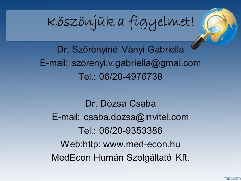 Köszönjük a figyelmet! Dr. Szörényiné Ványi Gabriella E-mail: szorenyi.v.gabriella@gmai.com Tel.: 06/20-4976738 Dr. Dózsa Csaba E-mail: csaba.dozsa@in