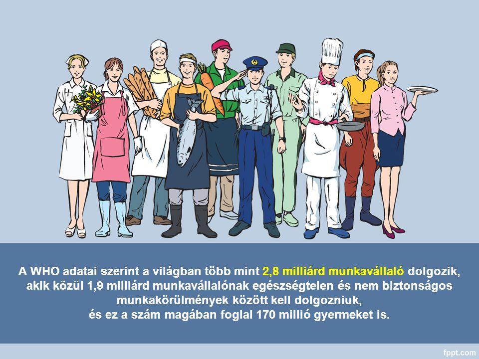 A WHO adatai szerint a világban több mint 2,8 milliárd munkavállaló dolgozik, akik közül 1,9 milliárd munkavállalónak egészségtelen és nem biztonságos munkakörülmények között kell dolgozniuk, és ez a szám magában foglal 170 millió gyermeket is.